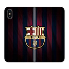FC Barcelona Logo Fabric iPhone XS Wallet Leather Case