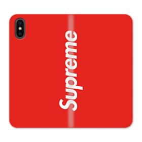 Red Supreme iPhone XS Wallet Leather Case