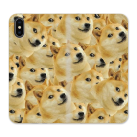 Doge meme seamless iPhone XS Wallet Leather Case
