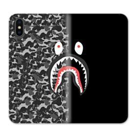 Bape Shark Camo & Black iPhone XS Wallet Leather Case