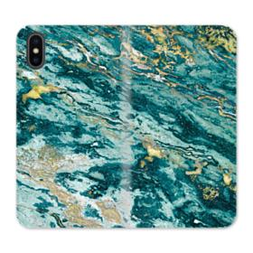 Turquoise and Gold Marble iPhone XS Max Wallet Leather Case