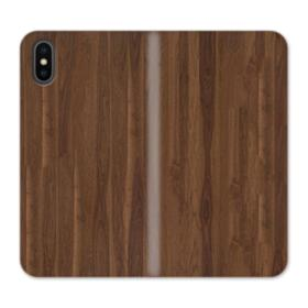 Dark Walnut Wood iPhone XS Max Wallet Leather Case