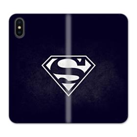 Black Superman Logo iPhone XS Max Wallet Leather Case