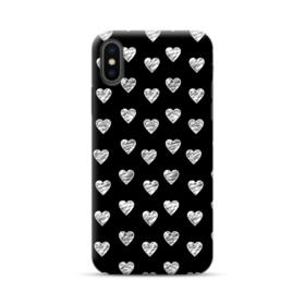 White Sketch Hearts Pattern iPhone XS Max Case