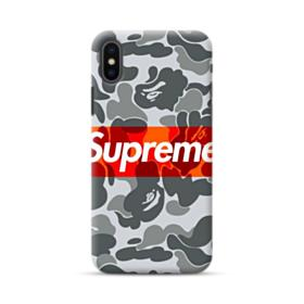 Red Supreme Logo with Ape Gray Camouflage Pattern iPhone XS Max Case