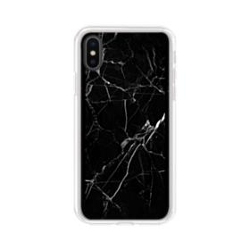 Black Marble White Veins iPhone XS Max Clear Case