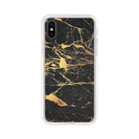 Black & Gold Marble iPhone XS Max Clear Case