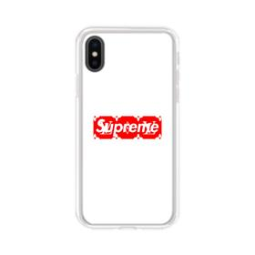 Supreme White Cover iPhone XS Clear Case