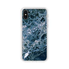 Blue Emperador Marble iPhone XS Clear Case
