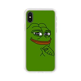 Smug Pepe Frog Funny Meme iPhone XS Clear Case