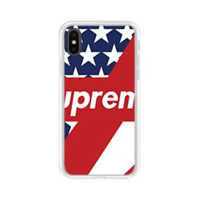 Supreme Logo with USA Flag iPhone XS Clear Case