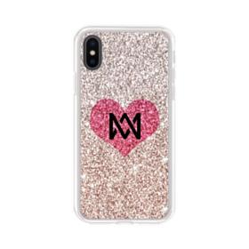 Heart Gold Glitter iPhone XS Clear Case