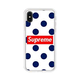 Supreme Logo with Dark Blue Dot Pattern iPhone XS Clear Case