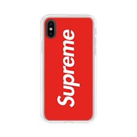Red Supreme iPhone XS Clear Case
