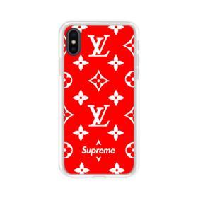 Classic Red Louis Vuitton Monogram x Supreme Logo iPhone XS Clear Case