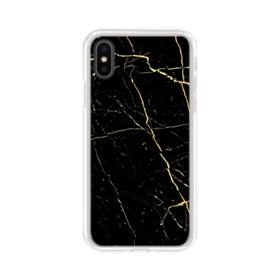 Black & Gold Marble iPhone XS Clear Case