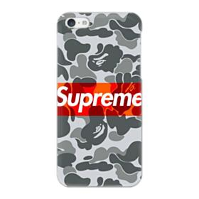 Red Supreme Logo with Ape Gray Camouflage Pattern iPhone 5C Case