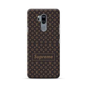 Classic Louis Vuitton Brown Monogram x Supreme Logo LG G7 Case