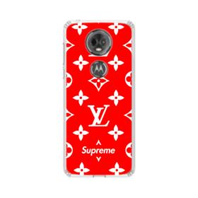 Classic Red Louis Vuitton Monogram x Supreme Logo Motorola Moto E5 Plus Clear Case