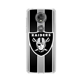 Oakland Raiders Team Logo Vertical Stripes Motorola Moto E5 Plus Clear Case