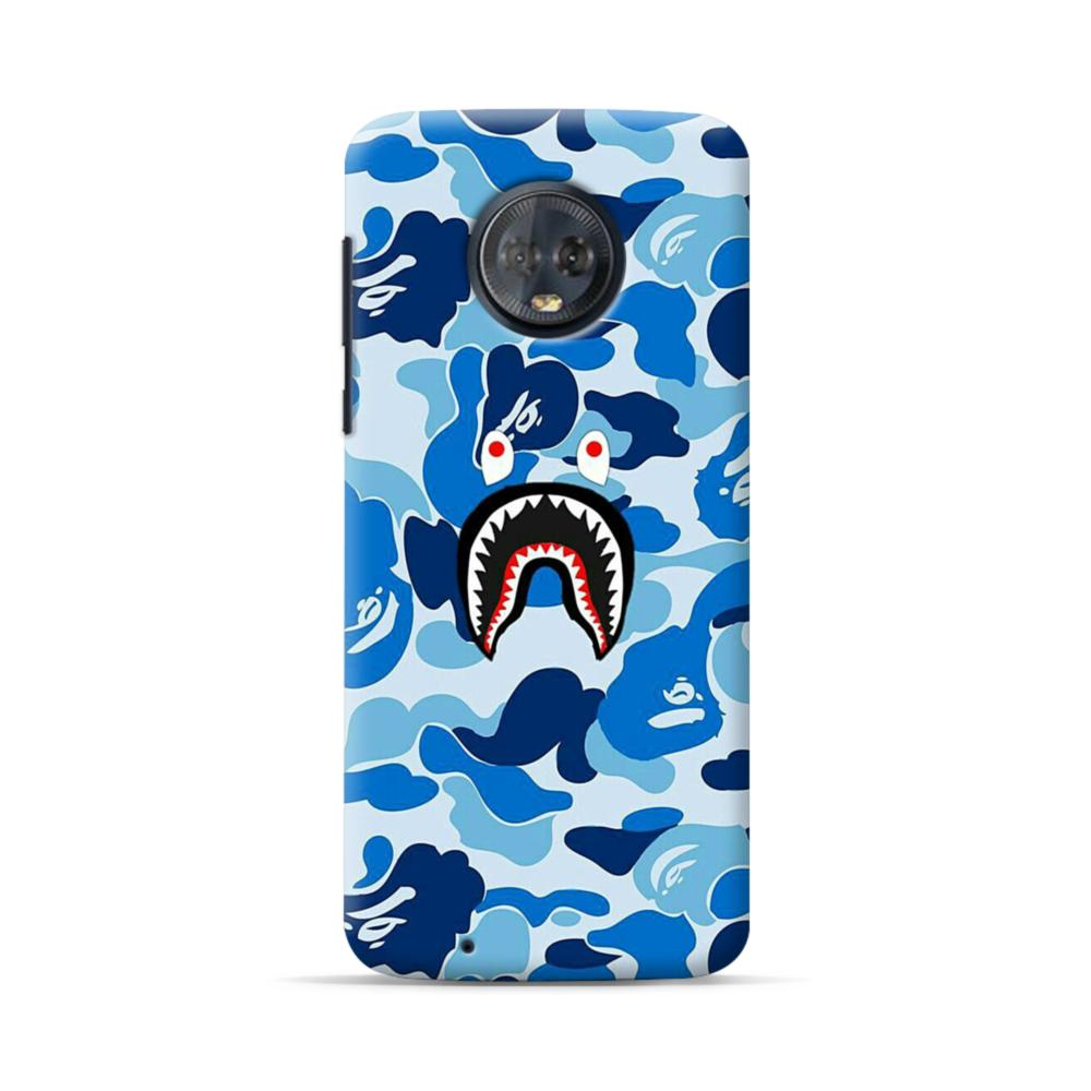 more photos 0c4ea 1c3d9 Bape Shark Blue Camo Motorola Moto G6 Case