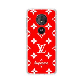 Classic Red Louis Vuitton Monogram x Supreme Logo Motorola Moto G6 Play Clear Case