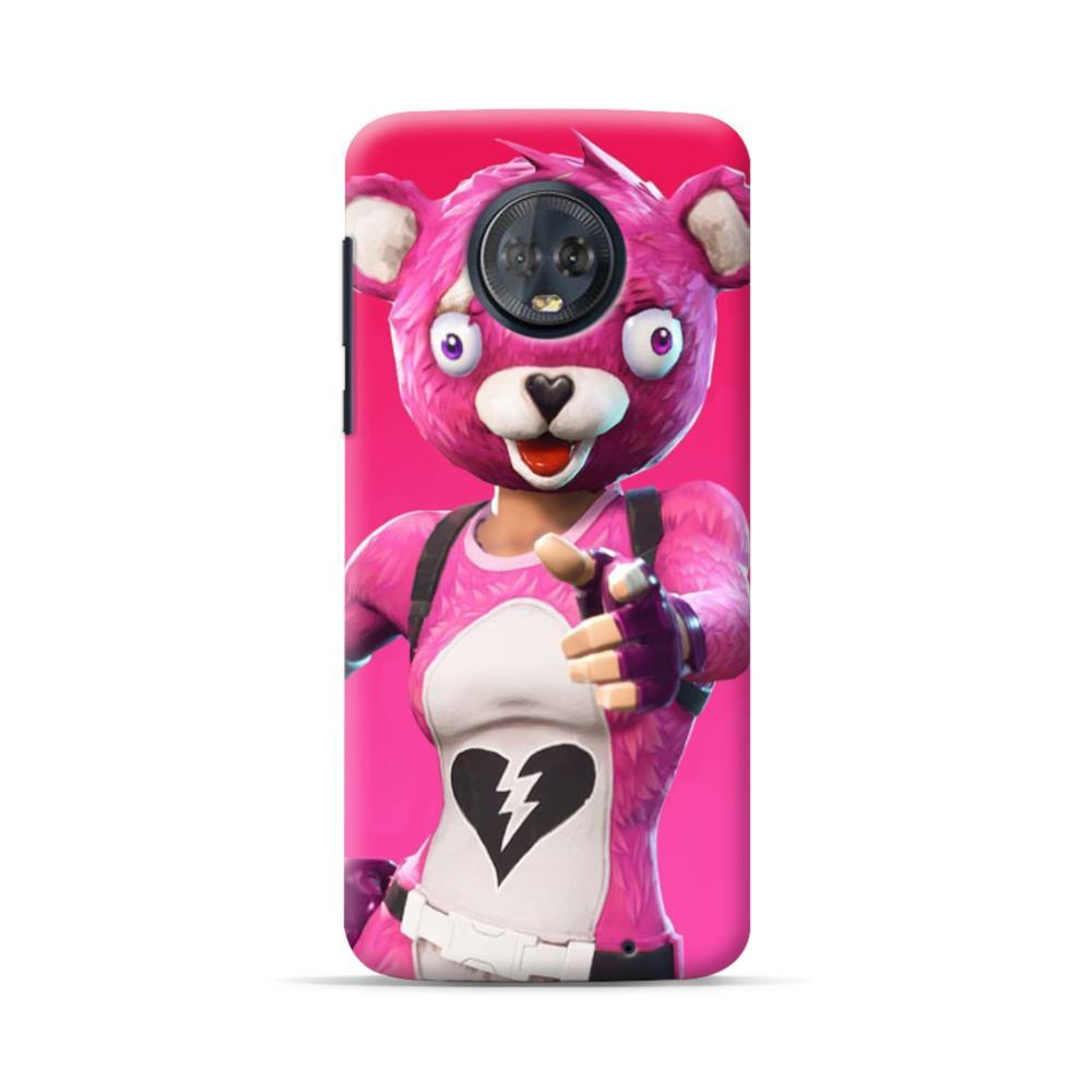 fortnite pink bear motorola moto g6 plus case - fortnite on motorola g6