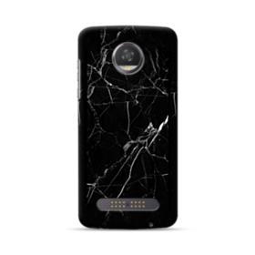 Black Marble White Veins Motorola Moto Z3 Play Case