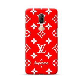 Classic Red Louis Vuitton Monogram x Supreme Logo OnePlus 6 Case