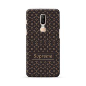 Classic Louis Vuitton Brown Monogram x Supreme Logo OnePlus 6 Case