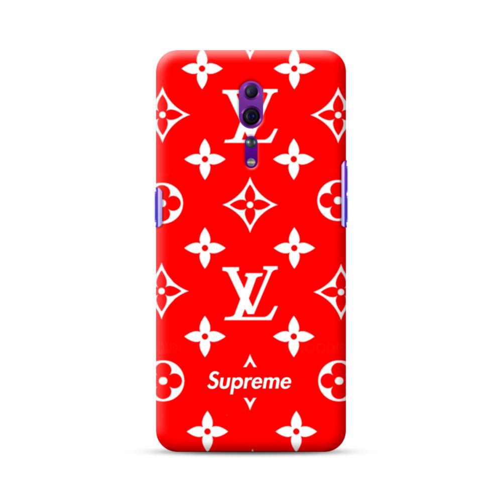 Classic Red Louis Vuitton Monogram X Supreme Logo Oppo Reno Z Case Caseformula