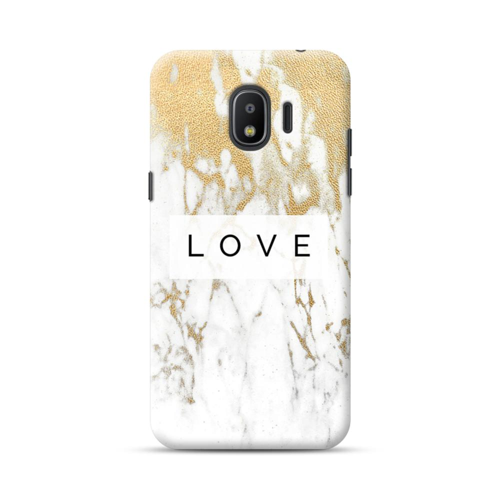 new product 7b1d4 7b895 White Gold Marble Samsung Galaxy J2 (2018) Case