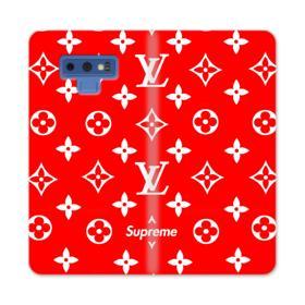 Classic Red Louis Vuitton Monogram x Supreme Logo Samsung Galaxy Note 9 Wallet Case
