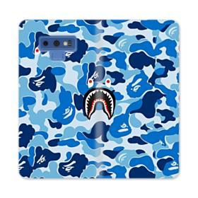 Bape Shark Blue Camo Samsung Galaxy Note 9 Wallet Case