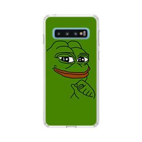 Smug Pepe Frog Funny Meme Samsung Galaxy S10 Clear Case