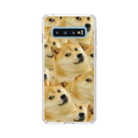 Doge meme seamless Samsung Galaxy S10 Clear Case
