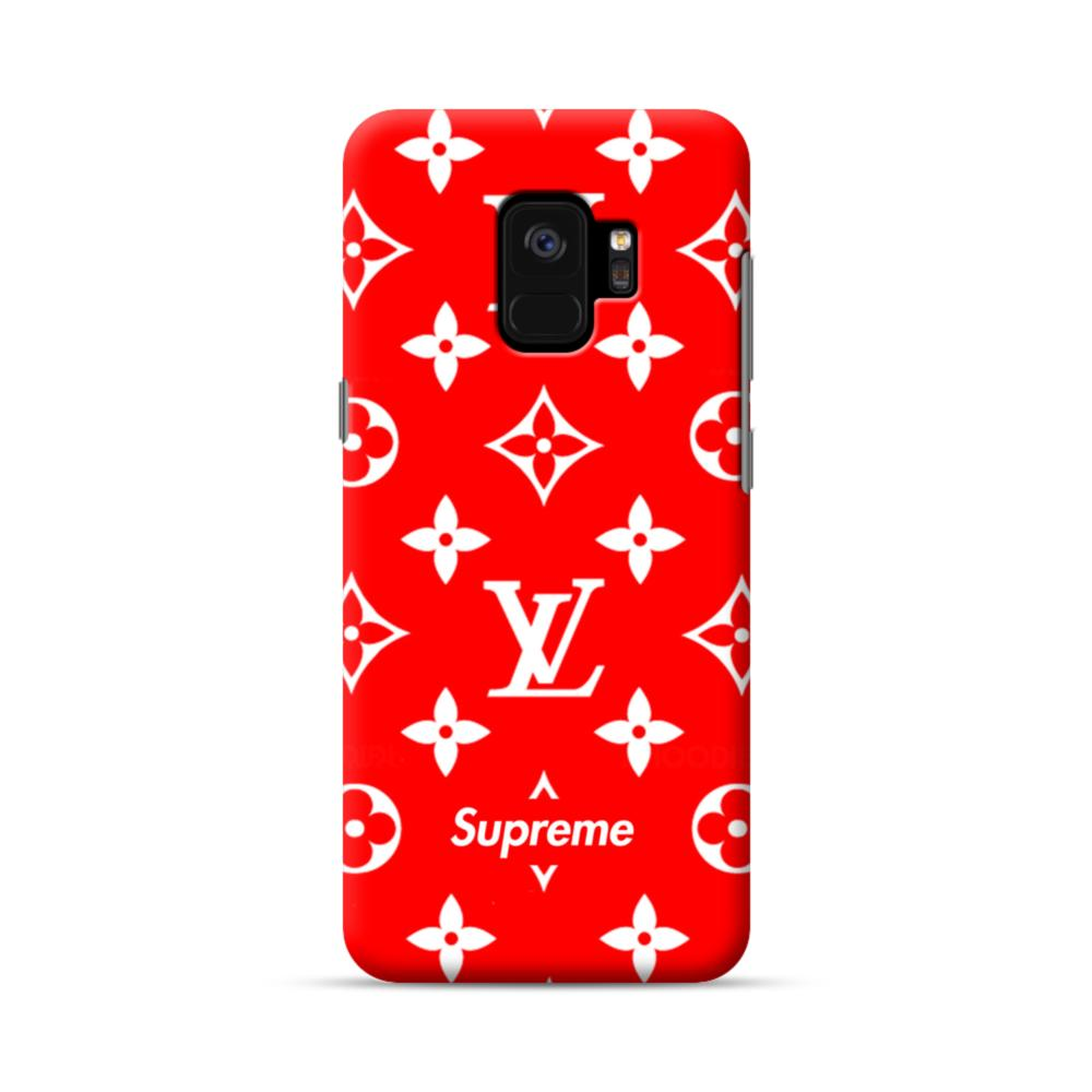 buy popular 3f265 00ad2 Classic Red Louis Vuitton Monogram x Supreme Logo Samsung Galaxy S9 Case